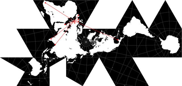 R. Buckminster Fuller, dymaxion projection 1954 adapted by Marco Moretto
